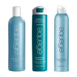 Aquage products lined up on display